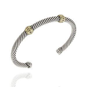 David Yurman two-tone double station cuff bracelet